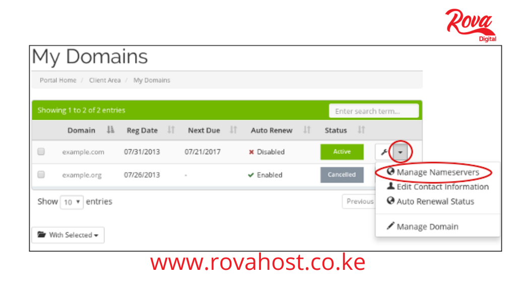 Rova Host domain name servers in Kenya